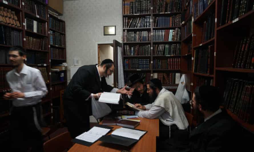 Scholars at the Gateshead Talmudical College,or yeshiva.