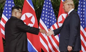 Donald Trump and Kim Jong-un at the Singapore summit on 12 June 2018. A second summit is planned at the end of the month.