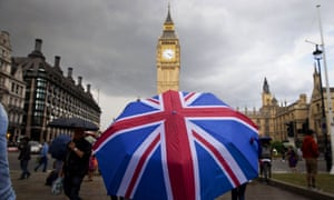 Person with umbrella outside the houses of parliament