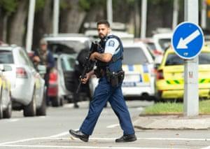 Armed police on patrol near the Al Noor mosque