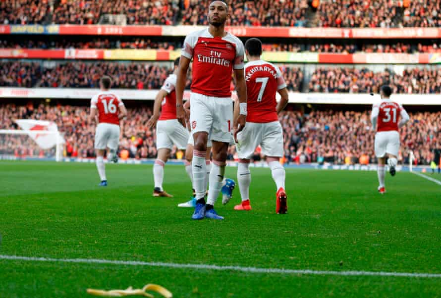 Pierre-Emerick Aubameyang and banana skin on Arsenal pitch