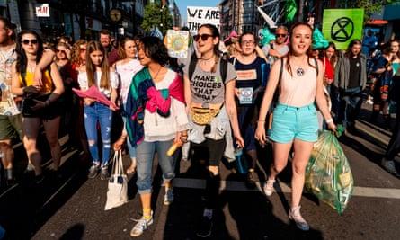 Extinction Rebellion protest in Oxford Street, London