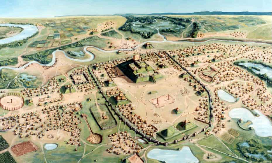 Illustration of Cahokia city