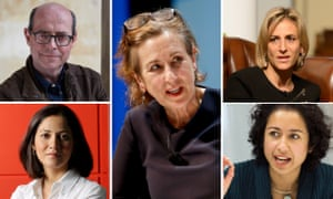 Clockwise from top right: Emily Maitlis, Samira Ahmed, Kirsty Wark, Mishal Husain and Nick Robinson