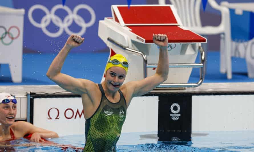 Kaylee McKeown reacts to winning the women's 200m backstroke.