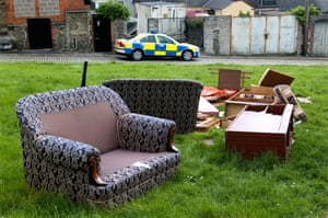 Destroyed furniture thrown out of a flat in a rundown housing estate in Devonport.