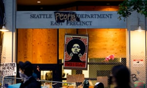 An image of Angela Davis at the entrance to the Seattle Police Department's East Precinct, which was vacated amid the recent protests over police violence.