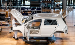 The production line of the Volkswagen e-Golf car at the Volkswagen Glaeserne Manufaktur (Transparent Factory) in Dresden, Germany.