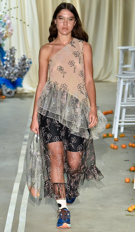 The off-the-shoulder look at Sandy Liang's show at New York fashion week