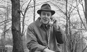 Roald Dahl answers a phone while filming in Central Park, New York, 1961.
