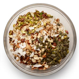 Mix in the seeds and nuts