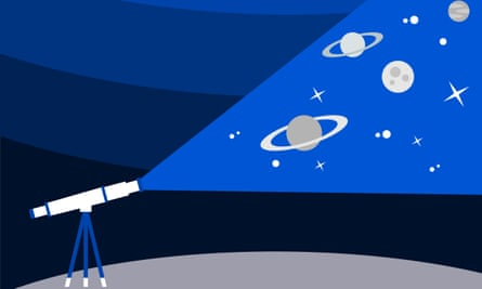 Illustration of astronomy equipment and the Night sky, planets, stars, space.