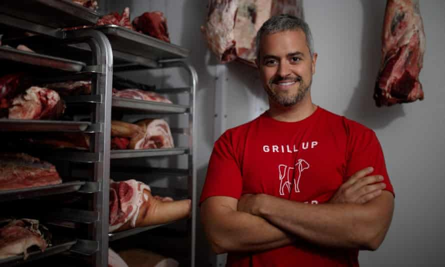 Mike Salguero from Butcher Box with meat