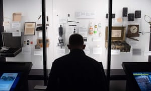 A visitor tours the International Spy Museum.