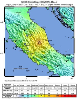 Map of the Italian earthquake zone.