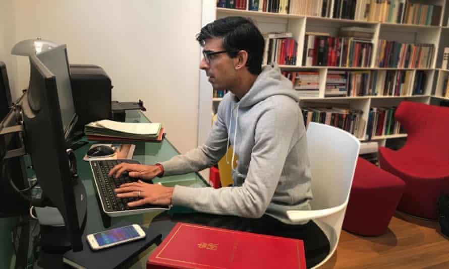 Rishi Sunak working from home, March 2020