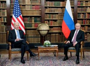 Russian President Vladimir Putin and US President Joe Biden attend a meeting at Villa La Grange in Geneva.