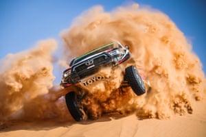 Stage 3 Wadi Al Dawasir - Wadi Al Dawasir Yazeed Al Rajhi Yazeed and Dirk Von Zitzewitz blast over a dune in their Toyota