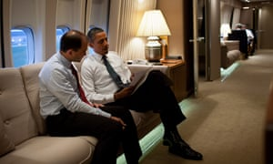 Obama and Rhodes aboard Air Force One.