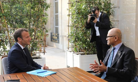 French President Emmanuel Macron meets Microsoft CEO Satya Nadella at the Élysée Palace in Paris
