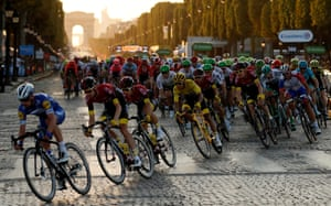 The peloton ride the Champs-Elysees at the end of the 2019 Tour