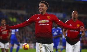 Manchester United's Jesse Lingard celebrates scoring their fourth goal.