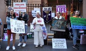 Anti-abortion activists placards during a rally outside the NSW parliament in Sydney on Tuesday.