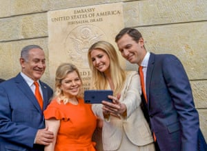 Benjamin Netanyahu, Sara Ben-Artzi, Ivanka Trump, and Jared Kushner pose for a selfie after the ceremomy