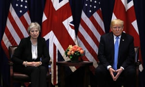 The UK prime minister, Theresa May, with the US president, Donald Trump, in New York