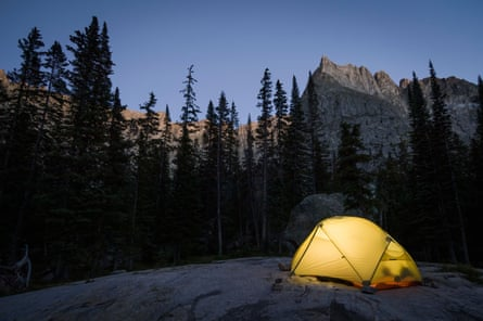Camping near Crater Lake at the base of Lone Eagle Peak, Indian Peaks Wilderness, Colorado