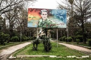 Billboard of Vladislav Ardzinba, first president of Abkhazia in Sukhumi, Abkhazia
