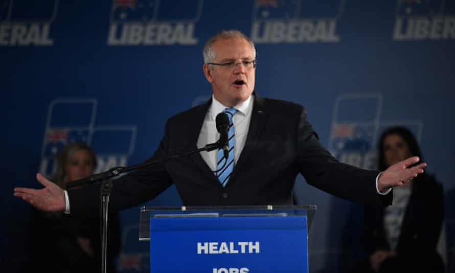 Scott Morrison at a campaign rally in Tasmania. The Coalition has pledged millions for suicide prevention. It remains committed to the cashless debit card