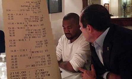Kim Kardashian, covered with a bill, Kanye West and Nir Barkat, mayor of Jerusalem, at Mona restaurant on Monday in the doctored image.