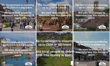 Facebook adverts inform local people that 'the government is investing up to £25m' in their area.
