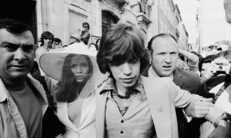 Mick and Bianca Jagger outside the town hall in St Tropez after their wedding in 1971.