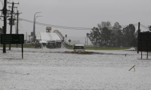 Flooding near Raymond Terrace in the north of NSW, Tuesday, April 21 2015. More than 20 people have been rescued from floodwaters and 215,000 homes and businesses are without power as storms continue to lash NSW.