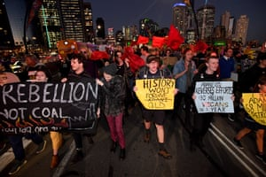 Brisbane, Australia: Climate change protesters attend a student march against the building of a coal mine