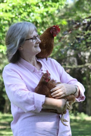 Nicky Cullum with some of her rehomed battery hens.
