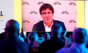 Carles Puigdemont on a screen