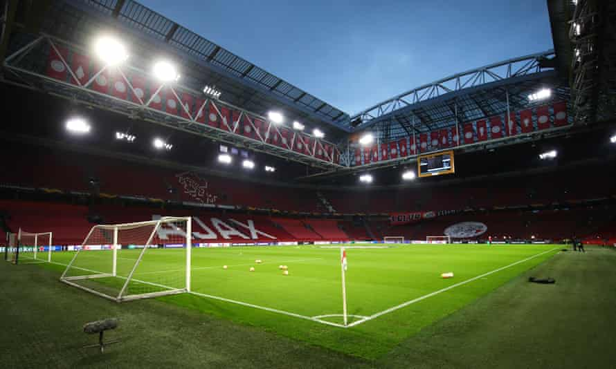 Pitchside at the Johan Cruyff Arena.