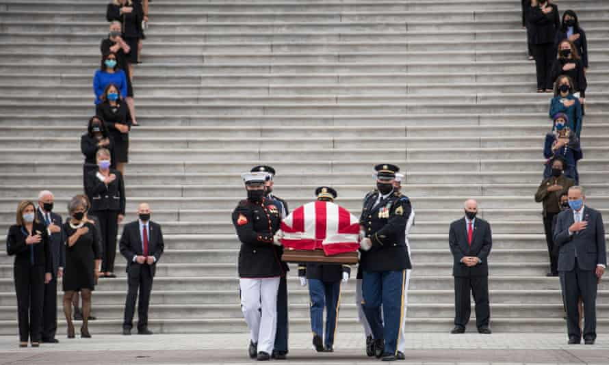 Ruth Bader Ginsburg's casket departs the US Capitol in Washington DC Friday.