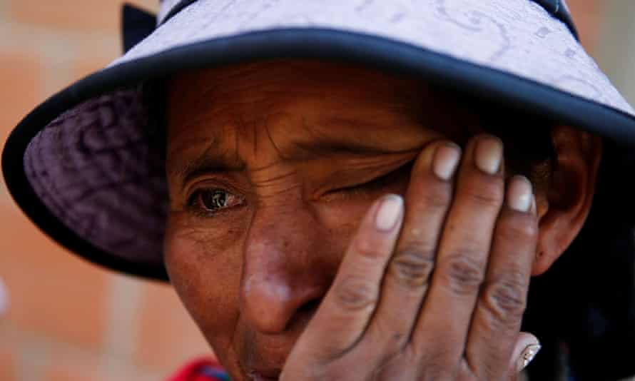 Martha Vargas cries while telling the story of her daughter Daniela, who was injured in her left leg by a lost bullet last November 11, a day after Bolivia's President Evo Morales resigned, in El Alto outskirts of La Paz, Bolivia, November 29, 2019. REUTERS/David Mercado