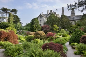 Sizergh Castle, near Kendal, Cumbria. The Rock garden covers almost an acre and is closely planted with dwarf conifers, Japanese maples and hardy ferns.