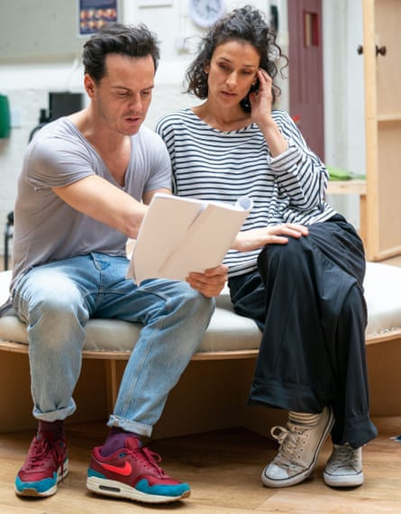 From dragons to dressing gowns … Andrew Scott and Varma rehearse Present Laughter.