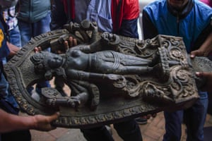 A figure of Laxmi Narayan, worshipped at Patan until it was stolen in 1984 was later traced to a museum in USA and returned to Nepal
