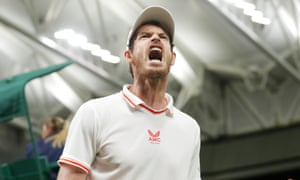 Murray celebrates winning his second round match against Oscar Otte.