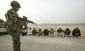 A British soldier at a checkpoint near Basra in 2003. The bill sets a limit for crimes committed by the UK military in foreign wars such as Iraq but not war crimes in Northern Ireland.