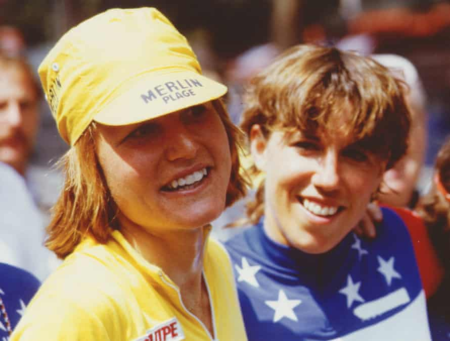 Marianne Martin and Patty Peoples celebrating Martin's Tour de France win