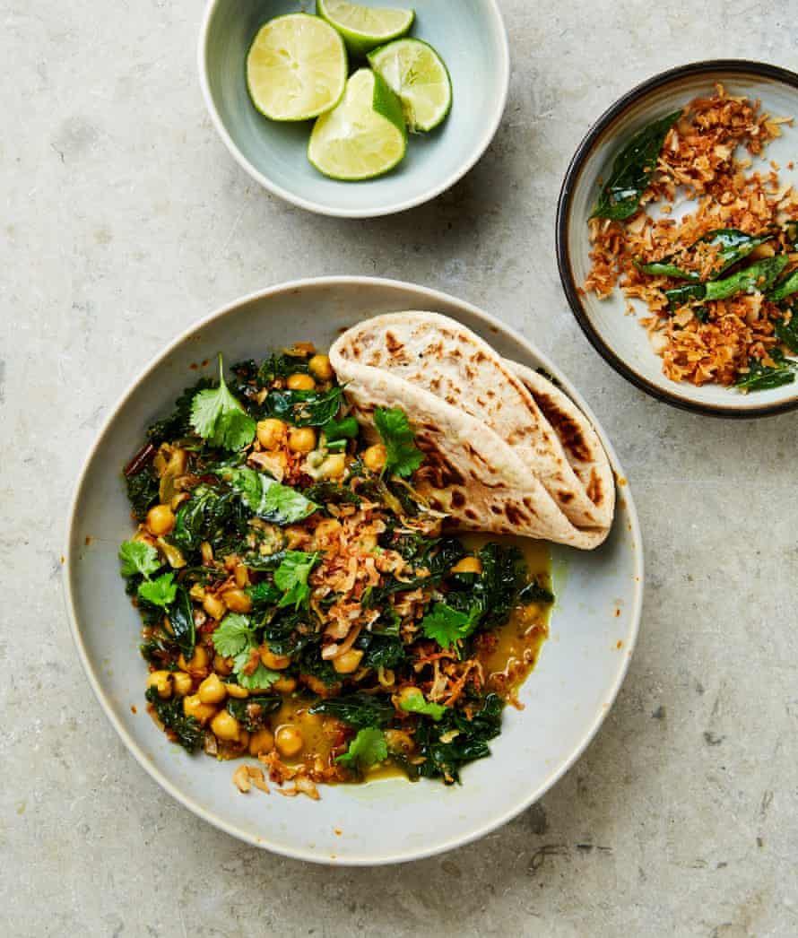 Yotam Ottolenghi's kale with chickpeas in coconut milk with curry leaf and coconut crisp.