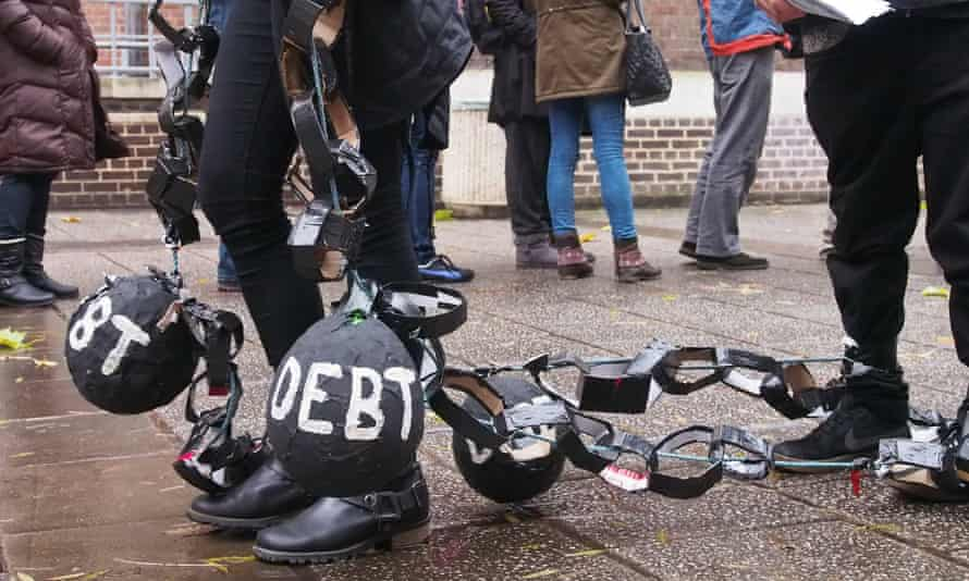 Students protesting about debt